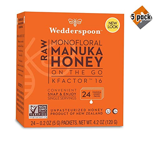 Wedderspoon On The Go Raw Premium Manuka Honey KFactor 16 Packets, 4.0 Oz (24 Count), Unpasteurized, Genuine New Zealand Honey, Multi-Functional, Non-GMO Superfood, 5 Pack by Wedderspoon (Image #3)