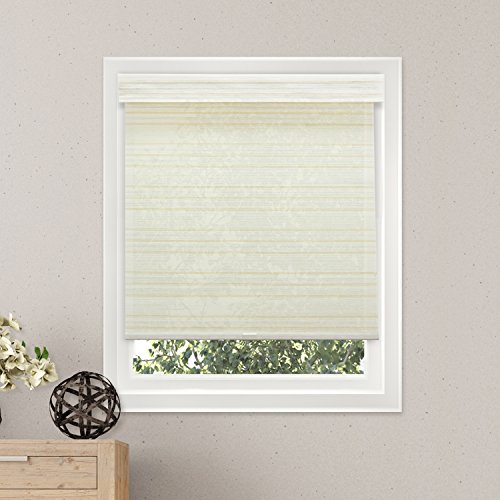 """Chicology Free-Stop Cordless Roller Shades, No Tug Privacy Window Blind, Cabana Sand (Privacy & Natural Woven) - 31""""W X 72""""H"""