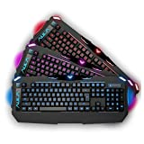 AULA DRAGON DEEP Three Backlit Four Grade Light Adjustable Professionally Wired USB Cyber Computer Gaming Keyboard [By AFUNTA]