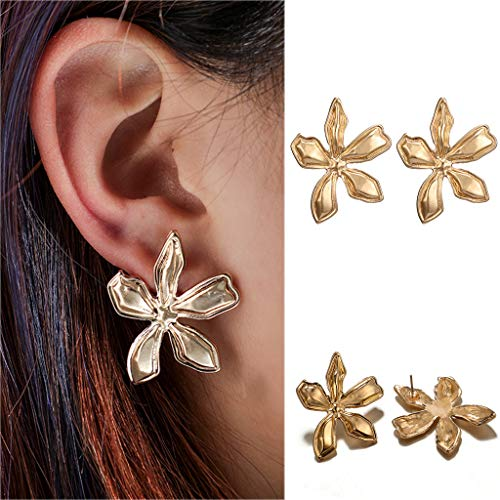 Cathy Clara Women Fashion Simple Metal Flower Three-Dimensional Petal Earrings Jewelry ()