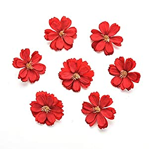 Fake flower heads in bulk wholesale for Crafts Artificial Silk Flowers Head Peony Daisy Decor DIY Flower Decoration for Home Wedding Party Car Corsage Decoration Fake Flowers 50PCS 4cm (Colorful) 4