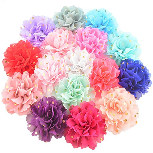 16 Pieces 4 Different Colors Handmade Chiffon Flowers With Gold Spot for DIY Baby Flower Headband Girl Flower Accessories (AIH0251)