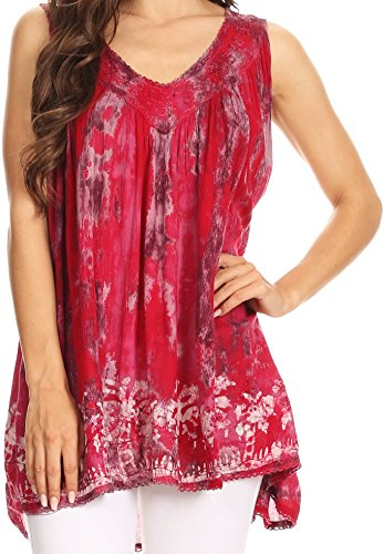 Trim Tank Sequin (Sakkas 17795 - Thea Watercolor Palm Tank with Sequins and Embroidery - Pink - OS)