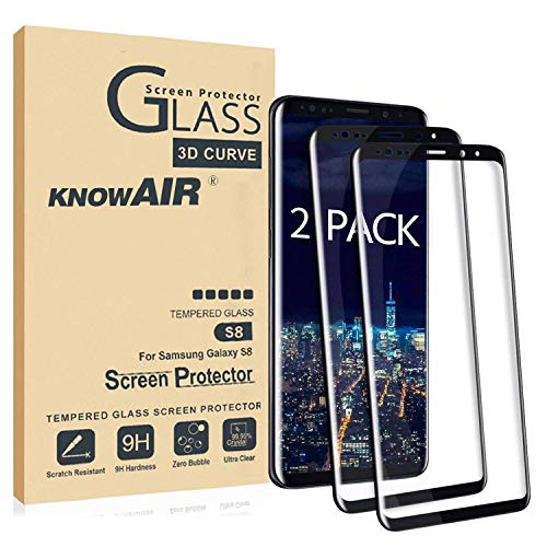 YQYU DAN Galaxy S8 Screen Protector,Full Coverage Tempered Glass[2 Pack][3D Curved] [Anti-Scratch][High Definition] Tempered Glass Screen Protector Suitable for Galaxy S8 (NOT S8 Plus)