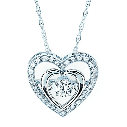 Brilliance in Motion 925 Sterling Silver Dancing Diamond Double Heart Halo Pendant Necklace, 18