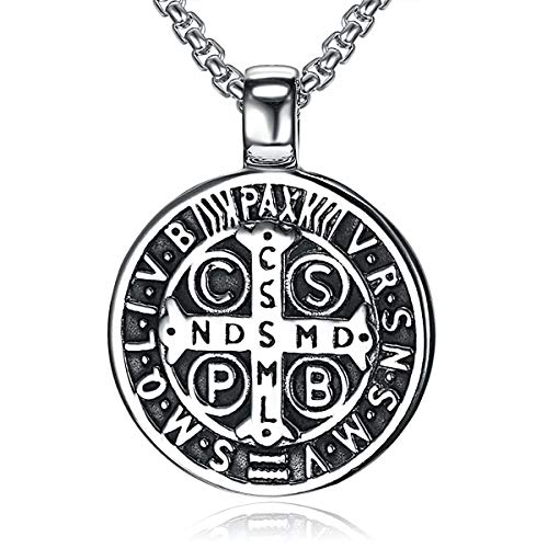 Men's St Benedict Exorcism Pendant Necklace Stainless Steel Catholic Roman Cross Demon Protection Ghost Hunter 22 inches