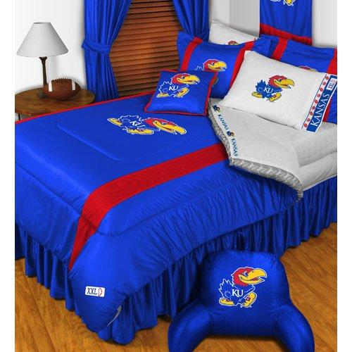 (NCAA Kansas Jayhawks - 4pc BEDDING SET - Twin/Single Size COMFORTER + SHEETS)