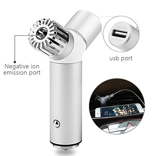 OSCOO Car Air Purifier,- Portable Air Freshener Ionizer -Removes Cigarette Smoke Odor Smell from Vehicle(Silver)