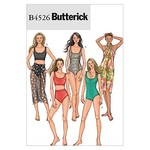 BUTTERICK PATTERNS B4526 Misses' Swimsuit and Wrap, Size AA (6-8-10-12)