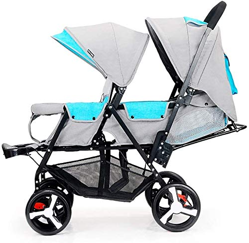 HEMFV Double Stroller | Lightweight Double Stroller with Tandem Seating. One-Button Folding: Small Folding Size, Small Storage Space, Easy to Store, Easy to Carry (Color : Gray)