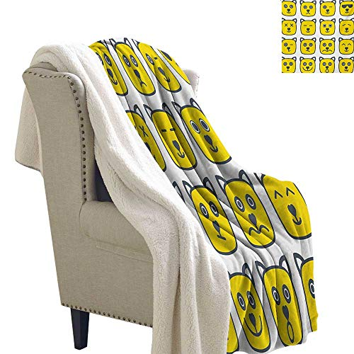 Emoji Flannel Bed Blankets 60x47 Inch Cat Dog Like, used for sale  Delivered anywhere in USA