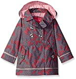 London Fog Little Girls' Her Li'l Trench Coat Jacket, Butterfly Dot Grey, 6X