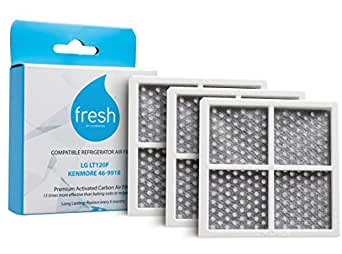 Fresh LG LT120F Kenmore 469918 Replacement Refrigerator Air Filter, 3 Pack