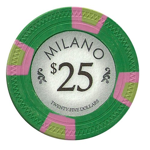 Claysmith Gaming $25 Clay Composite 10 Gram Milano Poker Chips - Sleeve of 25