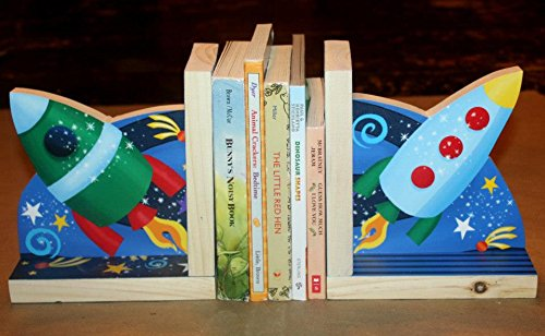 Outerspace Rocket Ship Astronaut Boys Kids Bedroom Baby Nursery Wood Bookends BE0021 Toad and Lily