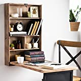 Rustic Fold Away Desk | Wall-Mounted Convertible Table With Storage & Chalkboard Feature | Measures 20'' D x 33'' W x 54'' H