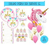 Unicorn Party Supplies Set - 115pc Decorations Bundle - Tableware for 16 (Plates Napkins Cups Tablecloth) Cupcake Wrapper/Topper & HUGE Unicorn Balloon! Party, Shower or 1st Birthday - Love, Summer