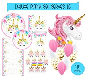 Unicorn Party Supplies Set - 115pc Decorations Bundle - Disposable Tableware (Plates, Napkins, Cups, Tablecloth), Cupcake Wrappers, Toppers & GIANT 46