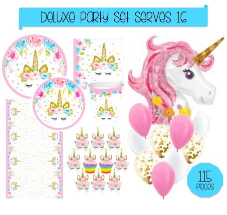 Unicorn Party Supplies Set - 115pc Decorations Bundle - Tableware for 16 (Plates Napkins Cups Tablecloth) Cupcake Wrapper/Topper & HUGE Unicorn Balloon! Party, Shower or 1st Birthday - Love, Summer by Love, Summer