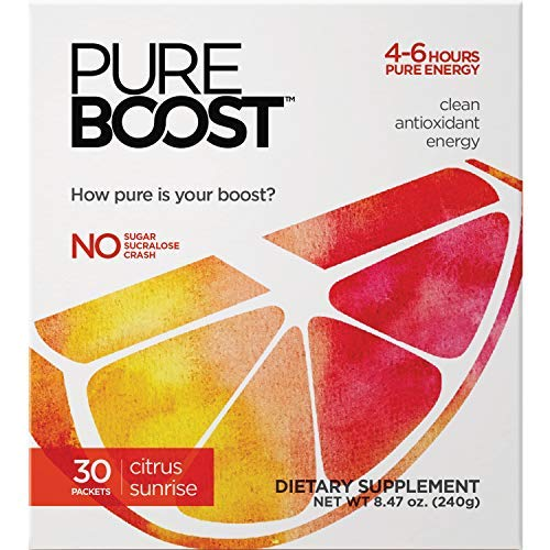 Pureboost Clean Energy Drink Mix. Contains No Sugar No Sucralose. Healthy Energy Loaded with B12, Antioxidants, 25 Vitamins, Electrolytes. (Citrus Sunrise, 30 - Drinks Sunrise