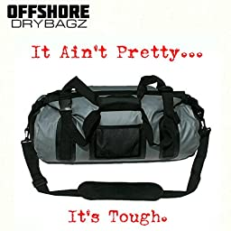 OFFSHORE DRYBAGZ Heavy Duty Waterproof Duffel Bag - Dry Bag \'TIDAL WAVE\' 40 Liter Heat Welded Seams, UV and Mold Resistant. Nylon Straps with Quick Release Clasp.