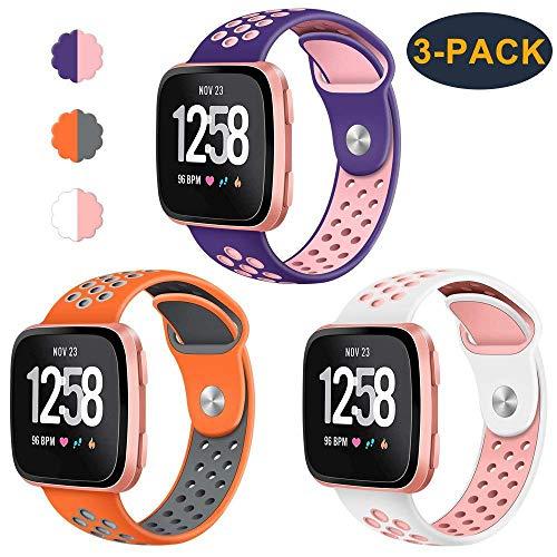 CAVN 3-Pack Compatible Fitbit Versa Bands for Men Women, Sweat Resistant Replacement Accessory Strap Bracelet Compatible Fitbit Versa Smartwtach (S/5.5-6.8, Purple/Peach+Orange/Grey+White/Peach)