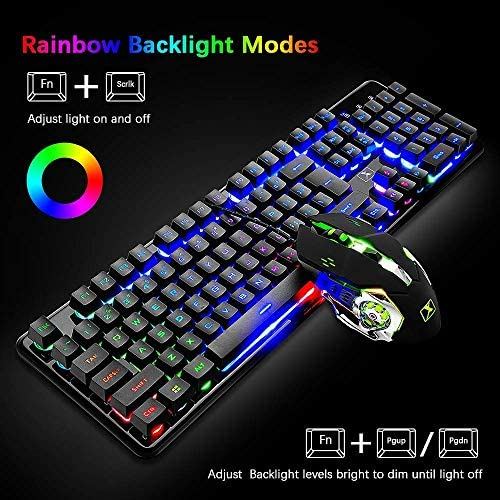 Wired Keyboard and Mouse Mousepad Combo,Mechanical Feel Rainbow Backlit Gaming Keyboard Mouse,10 Color RGB Gaming Mice Pad 7 Color Mute Gaming La Souris for PC Laptop Mac 51zVFoHqKQL