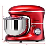 COSTWAY Stand Mixer, 660W Electric Kitchen Food Mixer with 6-Speed Control, 6.3-Quart Stainless Steel Bowl, Dough Hook, Beater, Whisk (Red)