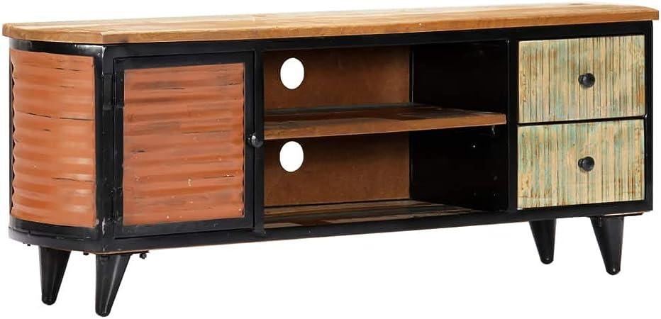 Tidyard Mueble para TV Diseño Moderno Aparador para TV Mueble TV Salón Mesa Televisión Mueble Comedor Televisor Madera Maciza reciclada con Dos cajone 120x30x45 cm