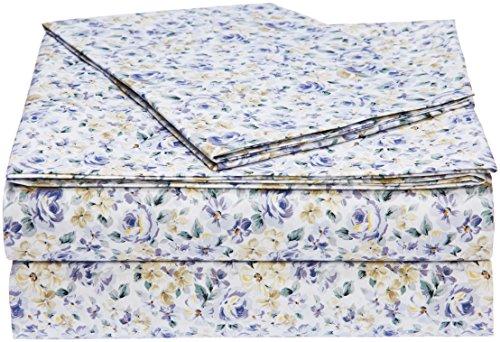 - AmazonBasics Microfiber Sheet Set - Twin, Blue Floral