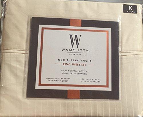 Wamsutta Ivory Stripe King Sheet Set 620 Thread Count Egyptian Cotton (Wamsutta Sheets Egyptian Cotton)