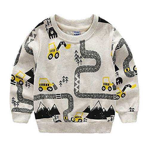 KIDSALON Little Boys' Cotton Crewneck Long Sleeve Cute Cartoon Top/T-Shirt (4T, Excavator) -