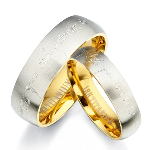 Gemini Personalized Elvish His & Her Couple Two Tone 18K Yellow Gold & Silver Brush & Polish Titanium Wedding Ring Set, Valentine's Day Gift US size 4-16 (half sizes available) ()