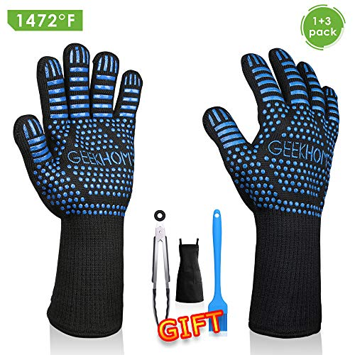 Free Stainless Steel Fireplace Package - GEEKHOM Grilling Gloves 1472℉ Heat Resistant BBQ Grill Gloves EN407 Certified 13 Inch Oven Mitts 4-in-1 Barbecue Tools for Cooking Baking Outdoor Camping and Weber Char-Broil Cuisinart Smokers