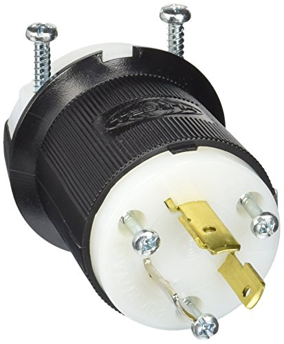 Hubbell HBL2331 Locking Plug, 20 amp, 277V, L7-20P, Black and White (Locking Plug Amp 20)