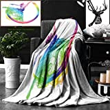 Unique Custom Double Sides Print Flannel Blankets Abstract Collection Smoke Dance Shape Silhouette Of Dancer Ballerina Rainbow Color Super Soft Blanketry for Bed Couch, Throw Blanket 60 x 50 Inches