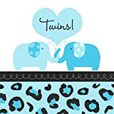 Amscan Sweet Safari Boy Twins Baby Shower Party Beverage Napkins (36 Piece), 5 x 5, Blue