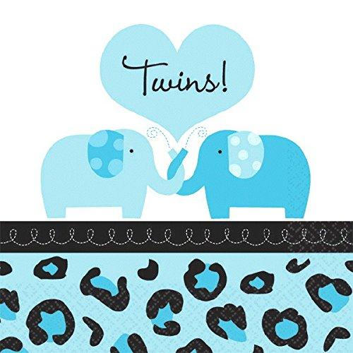 Amscan Sweet Safari Boy Twins Baby Shower Party Beverage Napkins (36 Piece), 5 x 5, Blue
