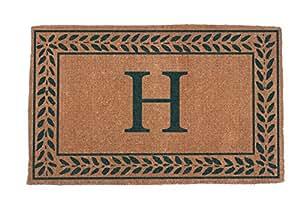 """Alfombrillas de Coco N más lv1830gr-m-v Monogram (V) frontera Doormats, 18""""x 30, natural"""