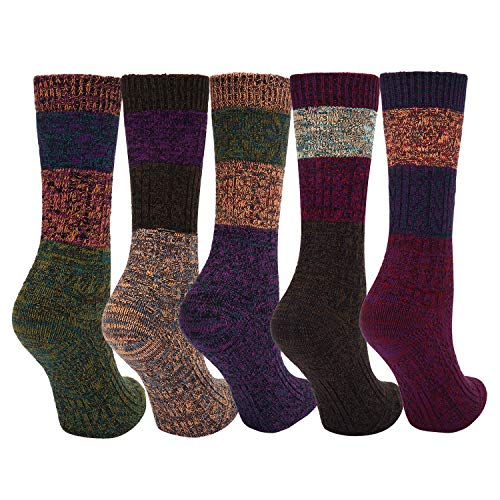 5 Pack Womens Soft Warm Thick Knit Cotton Knee High Socks Vintage Colorful Casual Fall Winter Socks