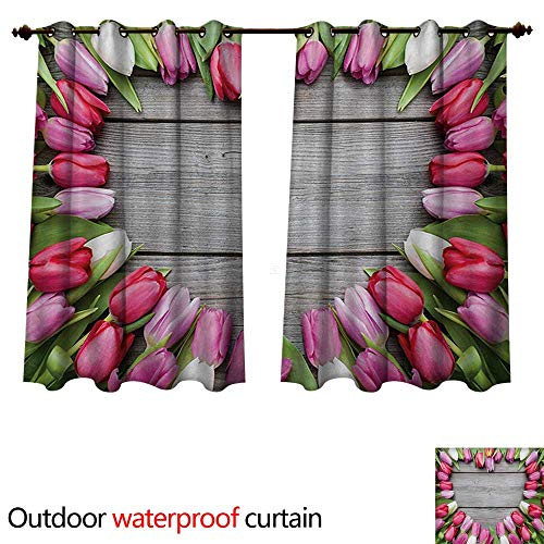 WilliamsDecor Love Outdoor Curtain for Patio Frame of Fresh Tulips Arranged on Wooden Table Country Nature Valentines Print W72 x L72(183cm x 183cm)