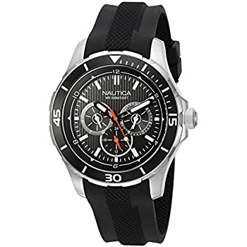 Nautica Mens NAD13523G NST 10 Analog Display Quartz Black Watch