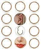 Besteel 9 Pcs 16g Stainless Steel Cartilage Tragus Hoop Earrings for Men Women Helix Septum Conch Daith Lip Body Piercing Jewelry