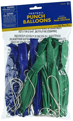Amscan Football Frenzy Birthday Party Punch Balloons (16 Pack), Green/Blue, 11.3 x 7.5