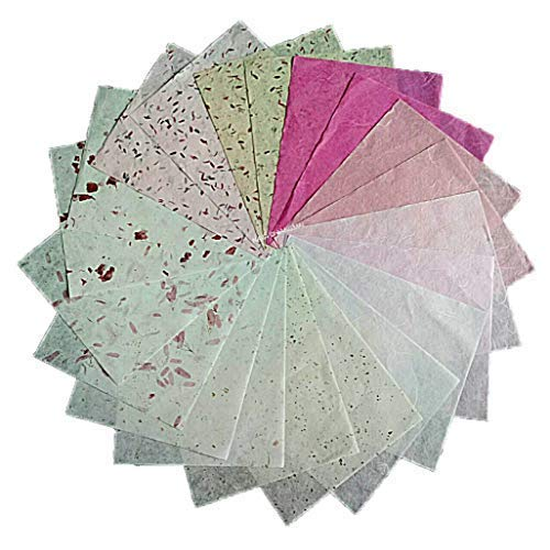 NAVA CHIANGMAI Thin Standard Color of Mulberry Paper Sheets Paper Decorative DIY Craft Scrapbook Wedding Decorative Mulberry Paper Art Tissue Japan (Mixed ()