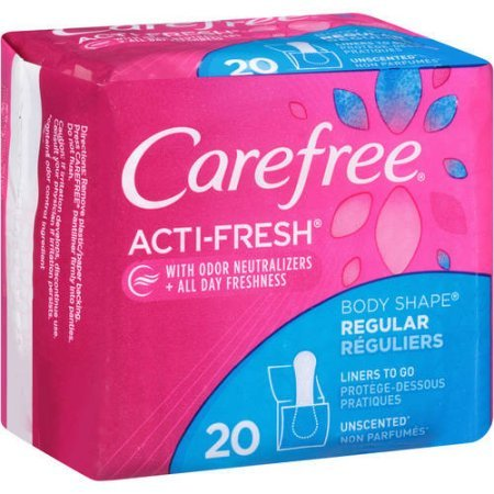 CAREFREE Acti-Fresh Body Shaped Pantiliners Unscented Regular, 22 ct