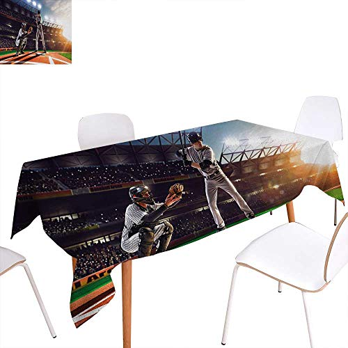 Baseball Player 3 Embroidery - Warm Family Teen Room Patterned Tablecloth Professional Baseball Players in The Stadium Playing The Game Pich Sports Print Dust-Proof Oblong Tablecloth 54