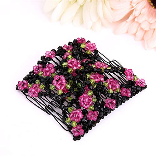 (1 piece Hair feeder comb Fashion comb Ladies Magic Beads Elasticity Double Hair Comb Clamp Stretchy Accessory P#912 C)