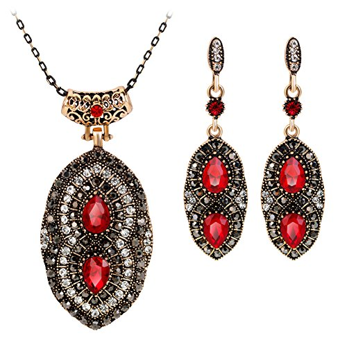 Jewelry Set Opeof Retro Women Rhinestone Pendant Drop Earrings Chain Necklace Wedding Jewelry Set - Multicolor ()