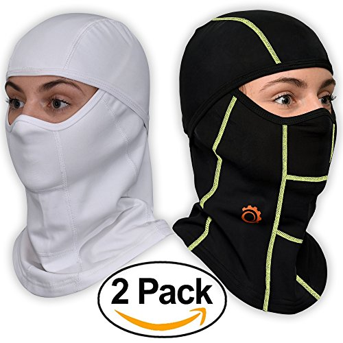 Face Mask Motorcycle Balaclava (Black/Green+White-2 Pack)